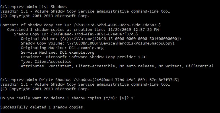 delete shadow copy