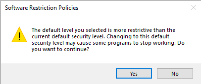 Software Restriction Policies (Changin the default level)