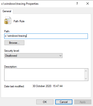 Create an SRP rule to disable execution from writeable folders in Windows