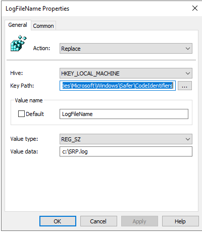 Enable SRP Logging in the Windows registry