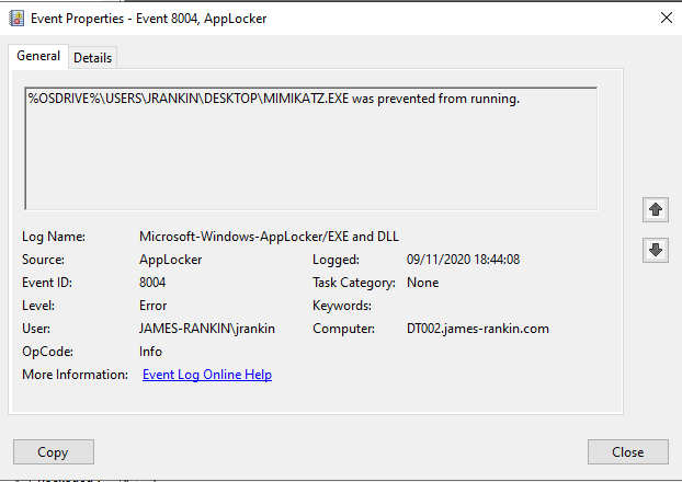 Applocker log - mimikatz.exe was prevented from running